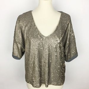 DELETTA Fully Sequined V-Neck Crop Top